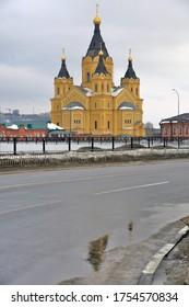 NIZHNIY NOVGOROD, RUSSIA - March 08, 2019: Architecture of Nizhny Novgorod, Russia. Saint Alexander Nevsky cathedral. Popular landmark.