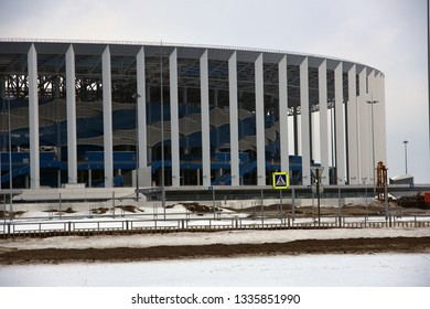 NIZHNIY NOVGOROD, RUSSIA - March 09, 2019: Architecture of Nizhny Novgorod, Russia. A sports arena Nizhny Novgorod, new landmark in the city center built in 2018 for FIFA World Championship.