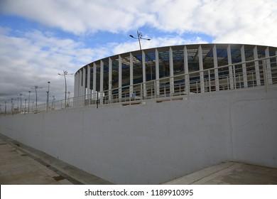 NIZHNIY NOVGOROD, RUSSIA - SEPTEMBER 26, 2018: Architecture of Nizhny Novgorod, Russia. A sports arena Nizhny Novgorod, new landmark in the city center built in 2018 for FIFA World Championship.