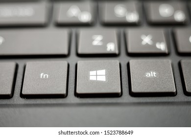 Nizhniy Novgorod/Russia - 09.27.2019. Laptop keyboard of computer running Windows 10 operating system, close-up macro start key, selective focus
