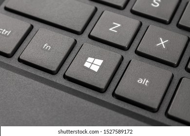Nizhniy Novgorod/Russia - 09.27.2019. The laptop keyboard of computer running Windows 10 operating system, close-up macro start key