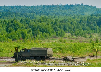 Nizhniy Tagil, Russia - July 12. 2008: army truck with cannon moving to destination point. Russia Arms Expo