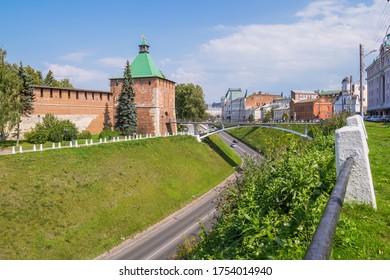 Nizhny Novgorod city, Nizhny Novgorod region/Russia - August 15 2019: Nikolskaya Kremlin tower and bridge