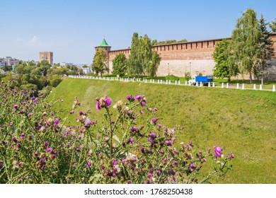 Nizhny Novgorod city, Nizhny Novgorod region/Russia - August 15 2019: View of the Kremlin wall through flowers