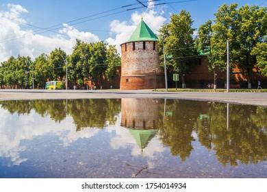 Nizhny Novgorod city, Nizhny Novgorod region/Russia - June 23 2019: Arsenal tower of the Kremlin with reflection