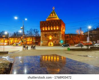 Nizhny Novgorod city,  Nizhny Novgorod region/Russia - March 31 2019: Dmitrievskaya tower of the Kremlin in the evening light