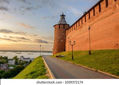 Nizhny Novgorod Kremlin at sunset, Russia