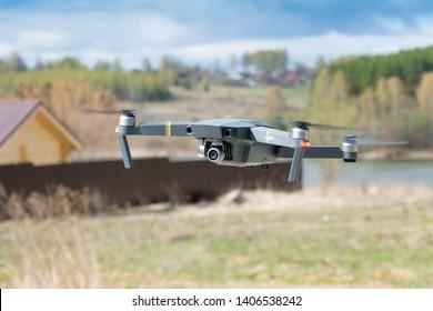 Nizhny Novgorod region. 28 April 2019. Quadrocopter Mavic Pro performs video nature.