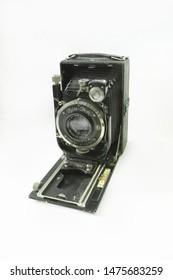 NIZHNY NOVGOROD REGION, RUSSIA - FEB 2014: Old captured German Zeiss-Ikon camera with negative format 6X9cm