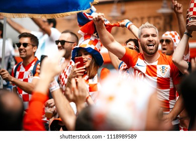 Nizhny Novgorod, Russia - 21 Jun 2018: Argentina and Croatia fans