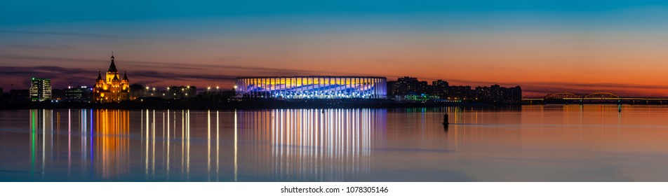 NIZHNY NOVGOROD, RUSSIA - April, 2018: View of Cathedral Church and Nizhny Novgorod stadium built for football world cup 2018 in Russia