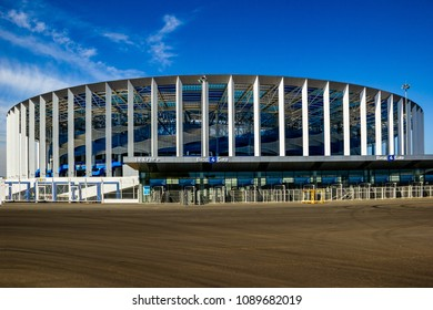 "Nizhny Novgorod, Russia, April 2018: View of the gates of the football stadium ""Nizhny Novgorod"", new football Stadium in Nizhny Novgorod constructed for the championship FIFA 2018"