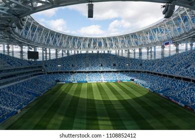Nizhny Novgorod / Russia - April 2018: The view from the stands of the Nizhny Novgorod stadium on the football field.