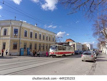 Nizhny Novgorod, Russia. - April 22.2016. Tram Route 1 at the intersection of Bolshaya Pokrovskaya and October