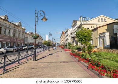 Nizhny Novgorod, Russia - August 18, 2018: Rozhdestvenskaya street in the center of Nizhny Novgorod, Russia