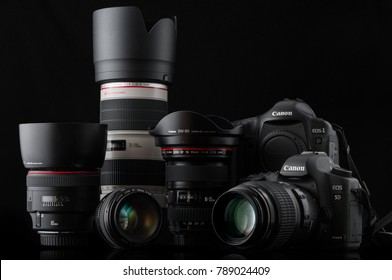 Nizhny Novgorod, Russia - August 20,2015  Photo of Canon Eos 5d and 1d with lenses 70-200mm f/2.8L IS II US, 50mm f/1.4 USM, 100mm f/2.8 Macro USM, 16-35mm f/2.8L II USM, 85mm f/1.4L IS
