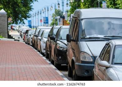 Nizhny Novgorod, Russia - August, 21, 2018: cars on a parking in Nizhny Novgorod