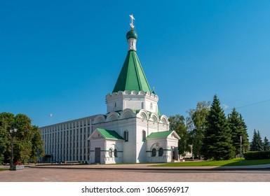Nizhny Novgorod, Russia - August 22, 2017: Cathedral of St. Michael the Archangel on the territory of the Nizhny Novgorod Kremlin.