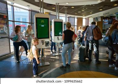 NIZHNY NOVGOROD, RUSSIA - CIRCA MAY, 2018: self-ordering kiosk at McDonald's restaurant. McDonald's is an American hamburger and fast food restaurant chain.