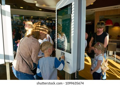 NIZHNY NOVGOROD, RUSSIA - CIRCA MAY, 2018: self-ordering kiosk at McDonald's restaurant. McDonald's is an American hamburger and fast food restaurant chain.