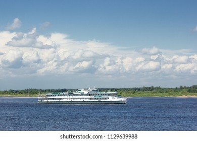 NIZHNY NOVGOROD, RUSSIA — JUL 07, 2018: A small cruise ship makes a voyage along the Volga