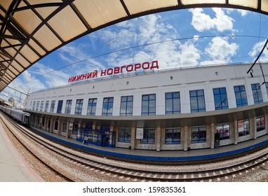 NIZHNY NOVGOROD, RUSSIA - JULY 1: View of Moskovsky Rail Terminal in July 1, 2012 in Nizhny Novgorod, Russia. The station was built in the 70s of XX century
