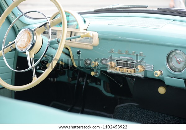 NIZHNY NOVGOROD, RUSSIA - JULY 18, 2013: GAZ-21 Volga USSR car interior from 1950s at GORKYCLASSIC old soviet cars exhibition.