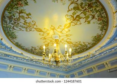 NIZHNY NOVGOROD, RUSSIA - JULY 2, 2018: Reach interior of Manor of Merchant Rukavishnikov (V.M. Rukavishnikova Manor) on the Verkhne Volzhskaya Embankment in the city center