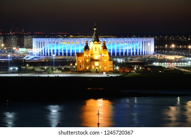 NIZHNY NOVGOROD, RUSSIA - JULY 31, 2018: Night panoramic view from Fedorovsky embankment one of the most beautiful viewpoints in Nizhny Novgorod