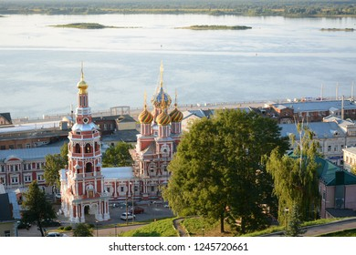 NIZHNY NOVGOROD, RUSSIA - JULY 31, 2018: Panoramic view from Fedorovsky embankment one of the most beautiful viewpoints in Nizhny Novgorod