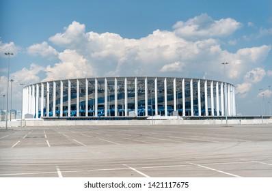 Nizhny Novgorod, Russia - June 10, 2019. Exterior view of Nizhny Novgorod stadium in Nizhny Novgorod.