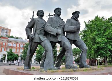 Nizhny Novgorod, Russia - June 10, 2019 - Monument to the Heroes of the Volga Military Flotilla on Markin Square in Nizhny Novgorod