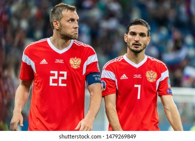 Nizhny Novgorod, Russia – June 11, 2019. Russia national team striker Artem Dzyuba and midfielder Magomed Ozdoyev during UEFA Euro 2020 qualification match Russia vs Cyprus (1-0) in Nizhny Novgorod.