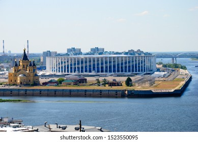 Nizhny Novgorod, Russia - June 12, 2019 - The Spit (Strelka) of Nizhny Novgorod with Football Arena and the Alexander Nevsky Cathedral, located at the confluence of the Oka and Volga rivers
