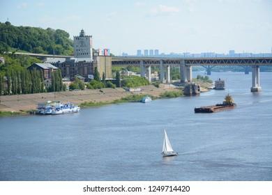 NIZHNY NOVGOROD, RUSSIA - JUNE 16, 2018: View to Oka river and Metro Bridge from Kanavinsky Bridge