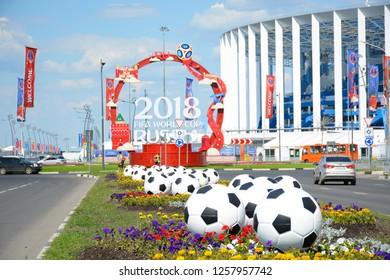 NIZHNY NOVGOROD, RUSSIA - JUNE 16, 2018: Nizhny Novgorod Stadium main football stadium in the city