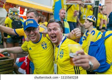 Nizhny Novgorod, Russia - June 17, 2018: Football fans of Sweden celebrate the victory over the team of Korea. Russia, World Cup 2018. Fifa 2018.