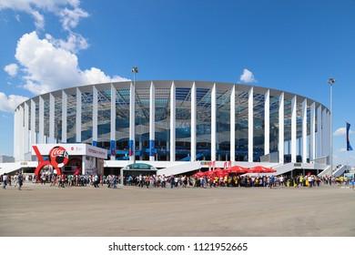 NIZHNY NOVGOROD, RUSSIA - JUNE 18, 2018: People outside the stadium during the FIFA World-Cup in Nizhny Novgorod, Russia
