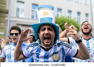 Nizhny Novgorod, Russia - June 21, 2018: Fifa World Cup 2018. Soccer fans of the Argentine team in Nizhny Novgorod.