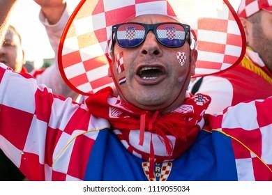 Nizhny Novgorod, Russia - June 21, 2018: Fifa World Cup 2018. Soccer fans of the Croatia team in Nizhny Novgorod.