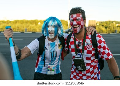 Nizhny Novgorod, Russia - June 21, 2018: World Cup 2018. Football fans of the Croatian national team together with the fans of the Argentina national team.