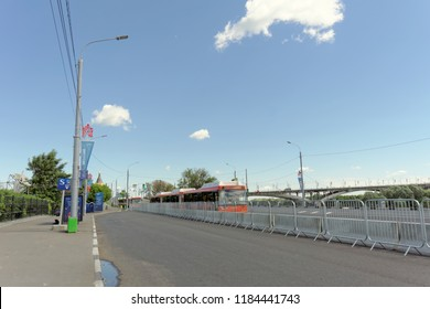 Nizhny Novgorod, Russia. - June 21.2018. Parking of bus shuttles for delivery of fans to the football stadium on Lenin Square.