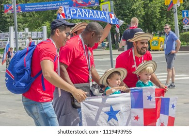 Nizhny Novgorod, Russia - June 24, 2018: It one of cities of the World Cup 2018 in Russia. Fans from Panama communicate with locals on streets