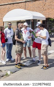 Nizhny Novgorod, Russia - June 24, 2018: It one of the cities of the World Cup 2018 in Russia. Volunteers help foreign fans