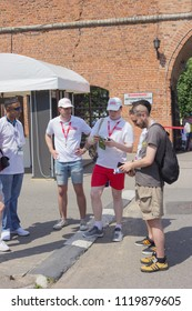 Nizhny Novgorod, Russia - June 24, 2018: It one of the cities of the World Cup 2018 in Russia. Volunteers actively help foreign fans