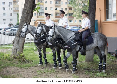 Nizhny Novgorod, Russia - June 24, 2018: It one of the cities of the World Cup 2018 in Russia. Security measures taken, mounted police in reserve
