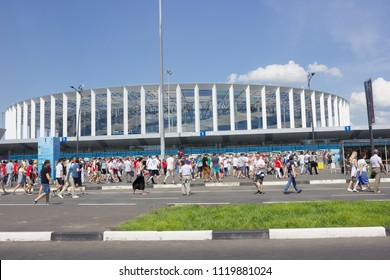 Nizhny Novgorod, Russia - June 24, 2018: It one of the cities of the World Cup 2018 in Russia. Fans gather at the stadium before the match