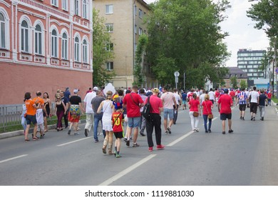 Nizhny Novgorod, Russia - June 24, 2018: It one of the cities of the World Cup 2018 in Russia. Fans from different go to the stadium before the match