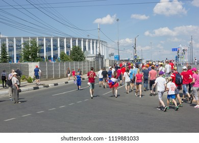 Nizhny Novgorod, Russia - June 24, 2018: It one of the cities of the World Cup 2018 in Russia. Russia. Fans from different countries rush to  stadium
