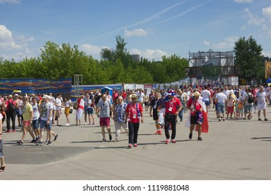 Nizhny Novgorod, Russia - June 24, 2018: It one of the cities of the World Cup 2018 in Russia. Fans go to the stadium before the match